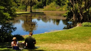 A couple spending time at the Melbourne Botanic Gardens